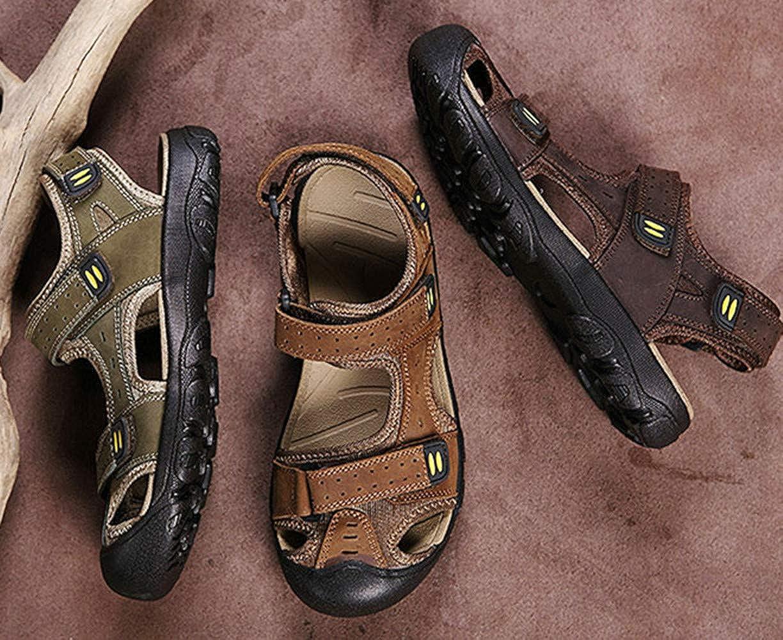Sandales Homme /ét/é Chaussures deau Piscine Ajustable Velcro Boucle Respirant Trekking Orteil Ferm/é Pantoufle P/êcheur Brun Vert Jaune EU38-EU48