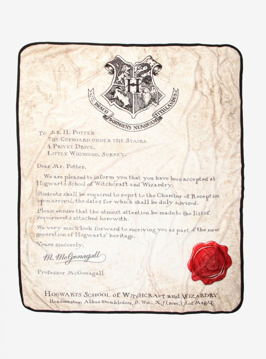 Harry Potter Acceptance Letter Throw Blanket