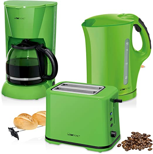 Set Desayuno, Cafetera de Goteo 14 Tazas, Tostadora de Pan 2 rebanadas, Hervidor de Agua eléctrico 1,7 litros, Verde Estilo Colour Up: Amazon.es: Hogar