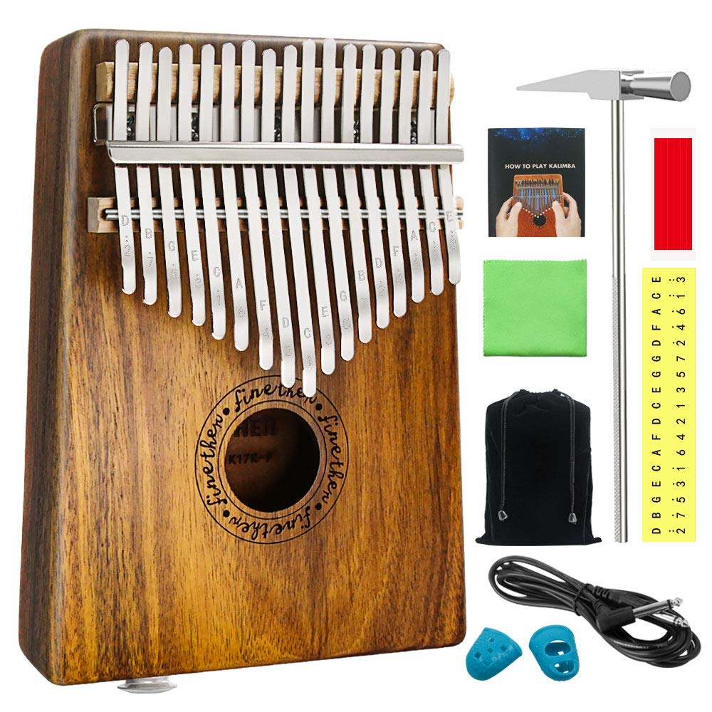 17 Keys Koa Kalimba Thumb Piano Wood Mbira Sanza Finger Percussion Pocket Keyboard w/Calibrating Tune Hammer for Beginners and Children (Koa with pick up jack)