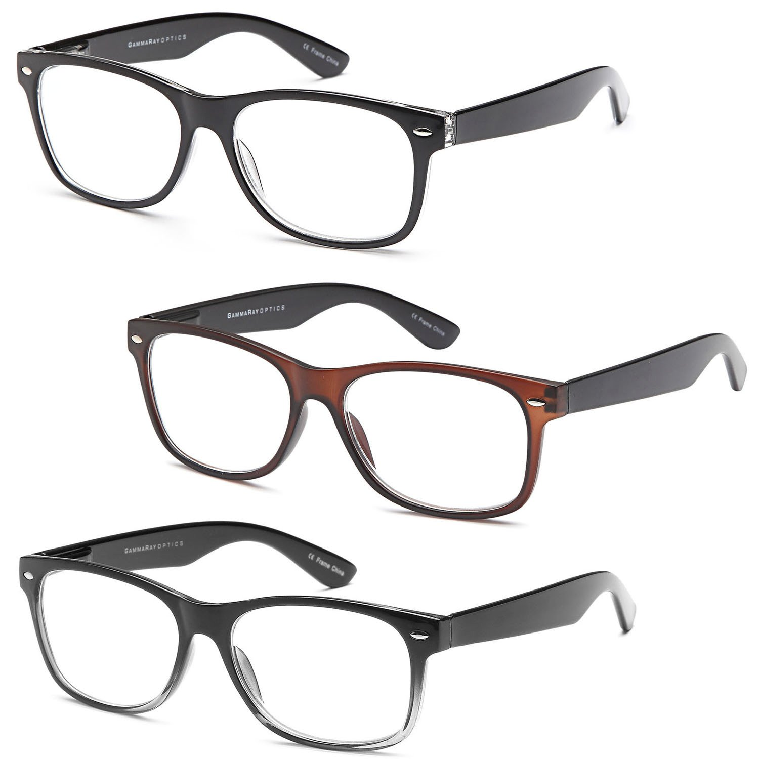 GAMMA RAY 3 Pairs Classic Spring Loaded Readers Reading Glasses - 1.75x