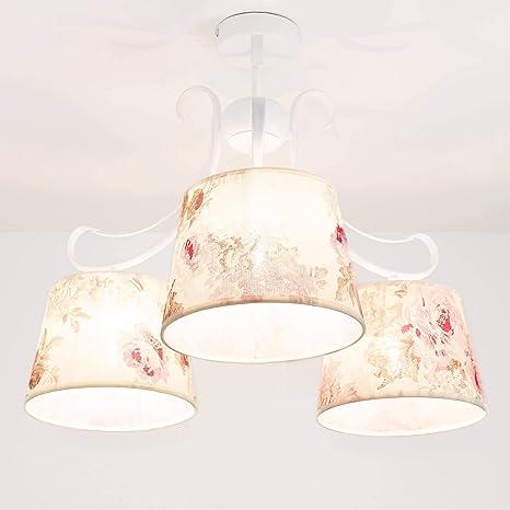 Lámpara de techo blanco flores crema rosa floral plástico ...
