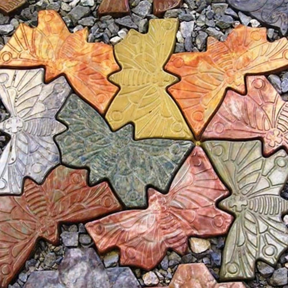 Sanmubo Schmetterlingsform Sprungbrettform Pflastersteinform Bunte Bodenfliesen Patchwork Kunststoffbodenform Dekorative Sprungbrettform Beton Zementform ABS Gartenweg