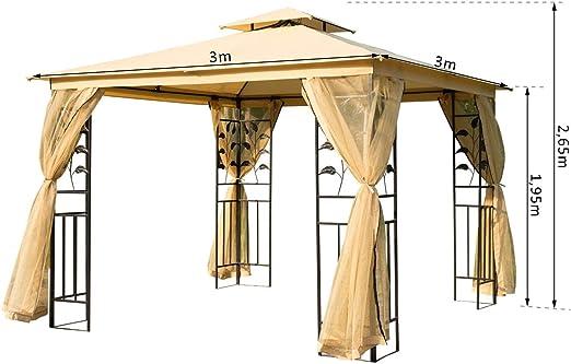Outsunny – Carpa de jardín de lujo, cenador de jardín, de 3 x 3 m ...
