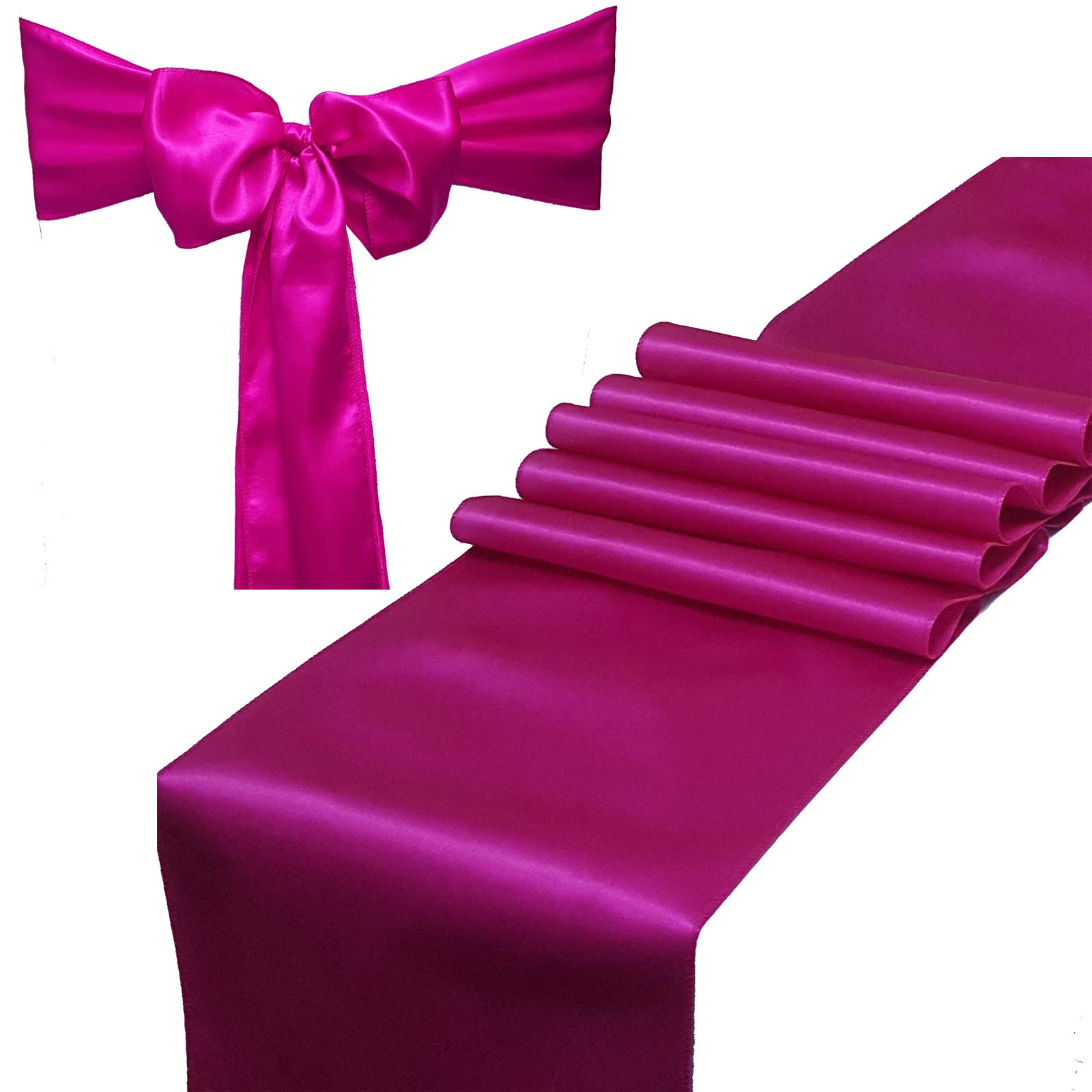 Combo Pack - 2 Satin Table Runners 12 x 108 inch & 10 Chair Sashes for Wedding Banquet Decoration, Bright Silk and Smooth Fabric Party Decor (Combo 2 Table Runner + 10 Chair Saches, Magenta)