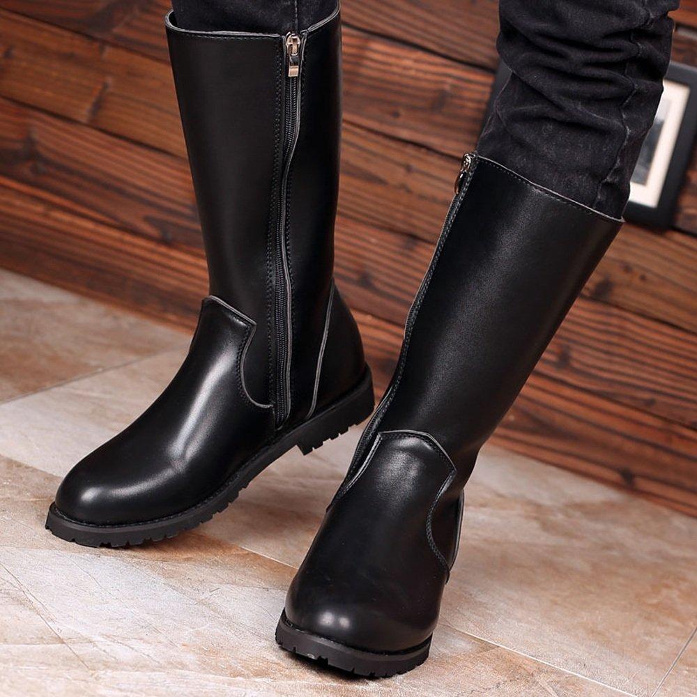 Hilotu Clearance Simple Shoes Men's Shoes Smooth Leather Upper Side Zipper Mid Calf Combat Boots for Gentlemen (Color : Black, Size : 9.5 D(M) US) by Hilotu-shoes (Image #4)