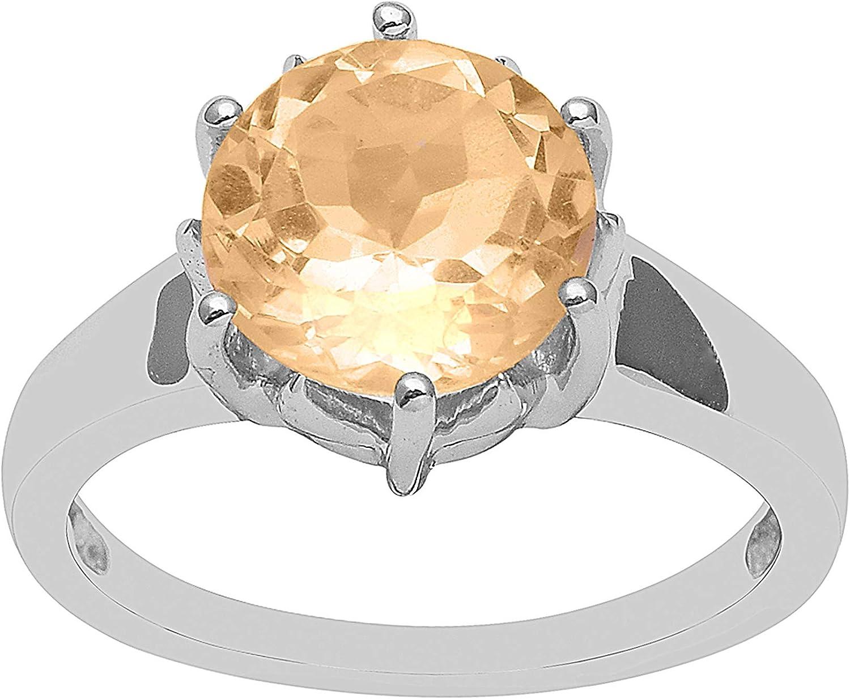 Shine Jewel Brillante joya citrina piedra preciosa de corte redondo - anillo de solitario de plata de ley 925 con plata esterlina para mujer