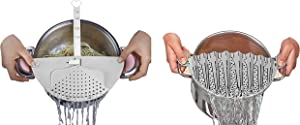 DUXU Kitchen Strainers - Pack of 2 BPA-free Clip-On Colander Sieve for Bowls, Pots & Pans - Food Drainers for Pasta, Spaghetti, Potatoes & Vegetables - Dishwasher Safe Cooking Utensils-White
