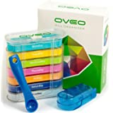OVEO Pill Organizer Box, 7 Day Pill Case with Splitter Cutter, Weekly Medication Dispensers with AM/PM Compartments, Medicine Container