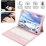 iPad Pro 10.5 Keyboard case, Wineecy Premium PU Leather Cover Case with Detachable Wireless Bluetooth Keyboard for Apple iPad Pro 10.5 inch 2017 tablet (Pink)