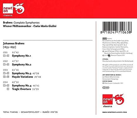 vienna philharmonic orchestra brahms carlo maria giulini brahms the complete symphonies tragic overture haydn variations amazoncom music