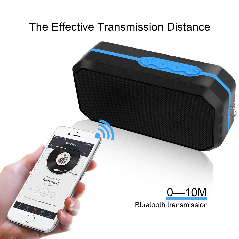 Ifecco Tragbarer Wasserdichter Bluetooth Lautsprecher Speaker Boombox mit 1800mAh Batterie für iPhone, iPad, Samsung, Nexus, HTC und andere Android Geräte (blau)