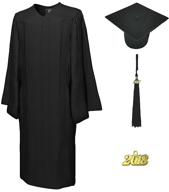 College Fashion Graduation Cap Gown Tassel Year Charm, Set Matte, black