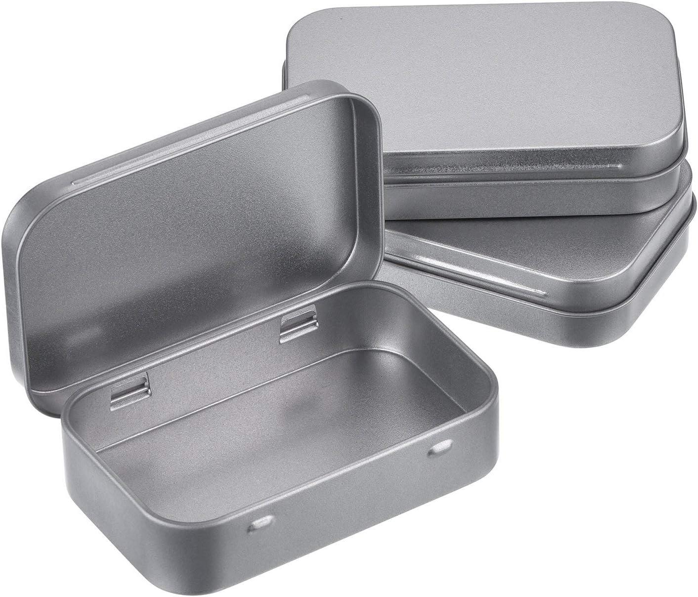 MUCHENG - Juego de 3 Cajas rectangulares de Metal Plateado con bisagras, Cajas de Almacenamiento pequeñas, Caja de Regalo para Manualidades, Organizador del hogar: Amazon.es: Hogar