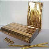 """Weststone - 200pcs 4"""" BRIGHT GOLD metallic twist ties foil twist ties for cello bags treat bags in birthday party wedding party"""