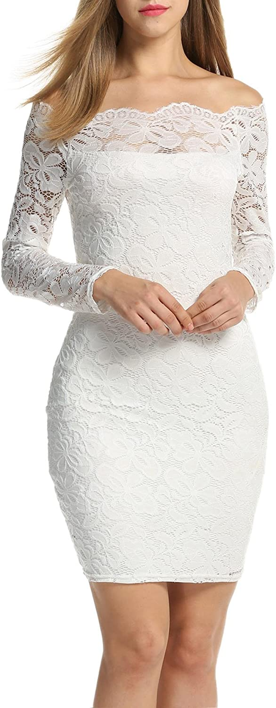 TALLA EU 36-38(talla productor S). Acevog Vestido Cocktail para mujer Blanco EU 36-38(talla productor S)