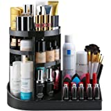 Jerrybox 360 Degree Rotation Cosmetic Storage and Jewelry Display Box, Adjustable Makeup Organizer, Fits Toner, Creams, Makeup Brushes, Lipsticks and More, Black