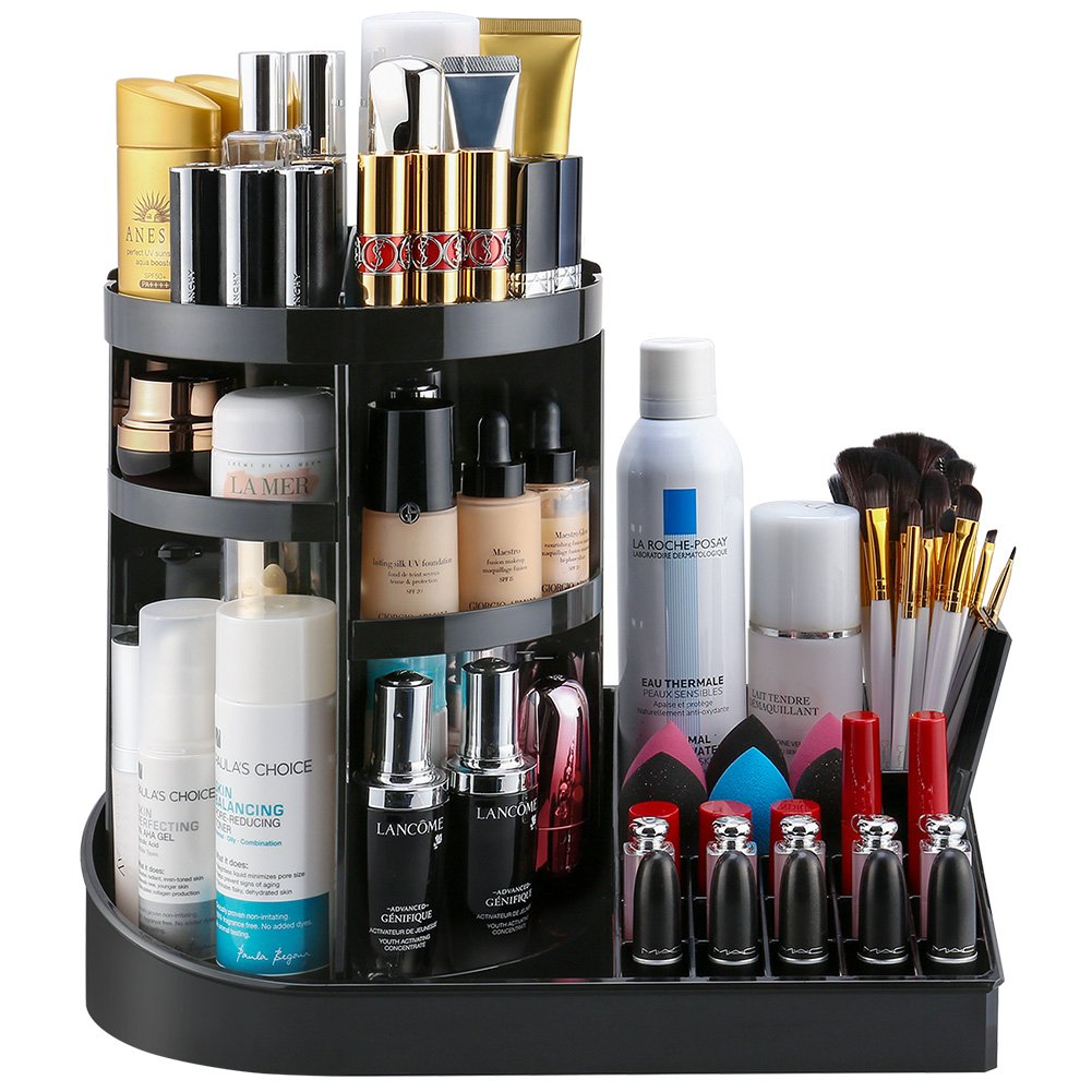 Jerrybox 360 Degree Rotation Makeup Organizer Adjustable Multi-Function Cosmetic Storage Box, Large Capacity, Fits Toner, Creams, Makeup Brushes, Lipsticks and More