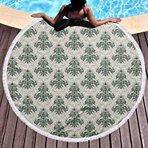 """Thick Round Beach Towel Blanket Victorian Toddler Beach Towel Floral Ornamental Western Traditional Artwork Foliage Timeless Fashion for Travel, Gym, Camping Jade Green Warm Taupe (Diameter 59"""")"""