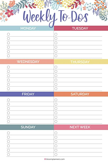 graphic about Weekly Planning Sheets titled bloom every day planners Undated Weekly toward-Do Record Pad with Magnet - Tear Off Developing Sheets - 6\