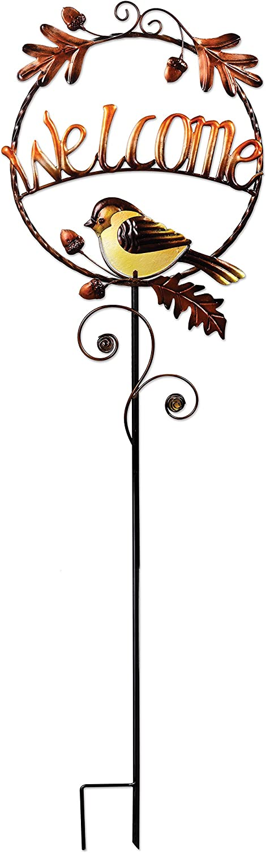Sunset Vista Designs 14916 Harvest Blessings Bird Garden Stake, Metal, Welcome