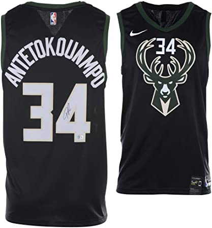 detailed pictures f3aa8 2a237 Giannis Antetokounmpo Milwaukee Bucks Autographed Black Nike ...