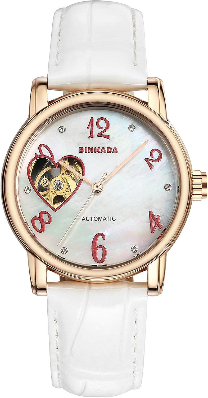 BINKADAトレンディfor Womans自動巻上げホワイトダイヤルレディースレディース腕時計# 7073 W04 – 1 B0150P0A40
