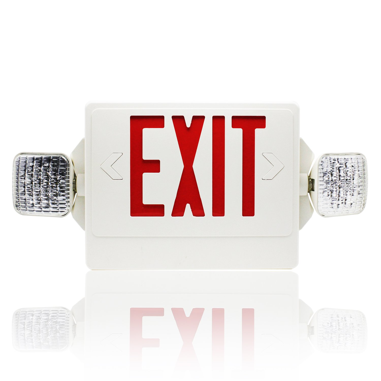 eTopLighting 20 LED Lighting Beads Red Exit Sign Emergency Lighting with Rotate LED Lamp Head and Battery Back-up, AGG2401