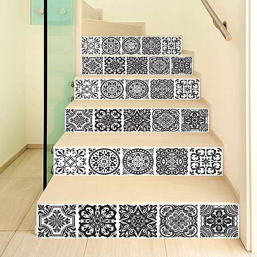 ZOOMY 6Piezas / Set 3D Mandala Escalera Escalera Subida Etiqueta del Piso Escalera autoadhesiva Impermeable PVC Tatuajes de Pared - Mandala: Amazon.es: Hogar