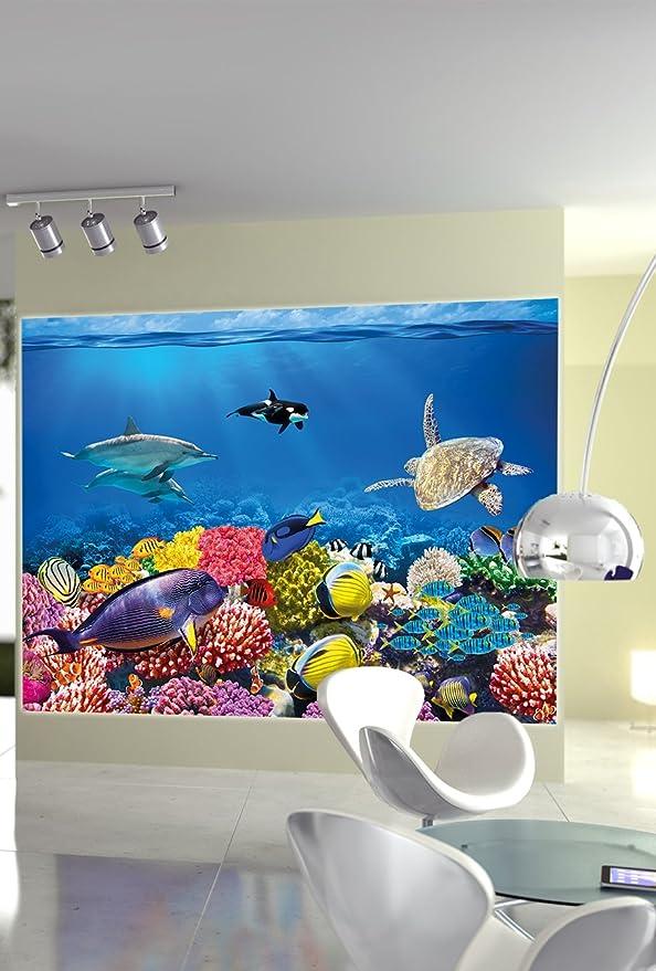 GREAT ART Póster Cuarto de niño Acuario Mural Decoración Mundo Submarino Criaturas Marinas Océano Peces Defín Tortuga Arrecife | Foto póster Mural Imagen ...