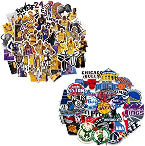 NBA Stickers, 81 PCS Basketball Team Logo Sports Kobe Stickers for Laptop Phone Water Bottles Computer Luggage Cars, DIY Party Supplies Patches Decal