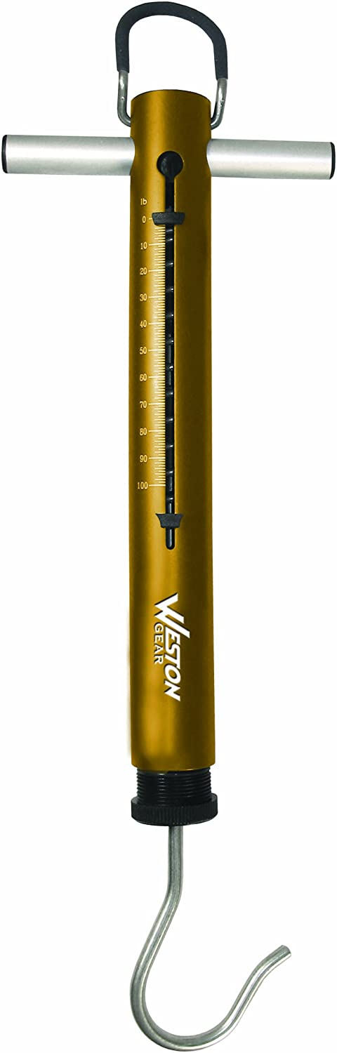 Weston Spring & Hook Scale, 100 lb (14-0306-W), Anodized Aluminum, Non-Slip Grip, Patented