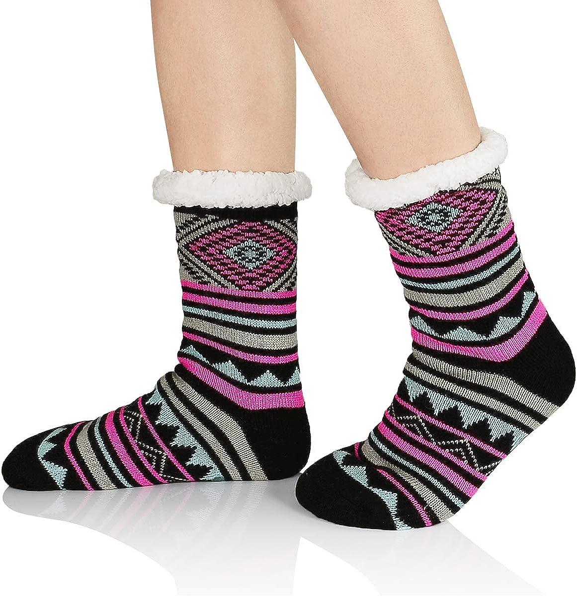Women Anti Slip Socks Winter House Sock Athletic Slipper Sock Non Slip Fleece-lined Knit Thick Warm Christmas Socks