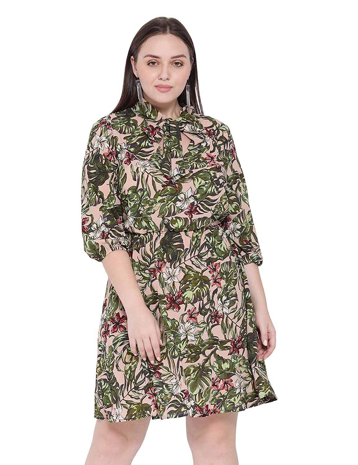 Buy oxolloxo Women\'s Plus Size Floral Dress (Peach) at Amazon.in