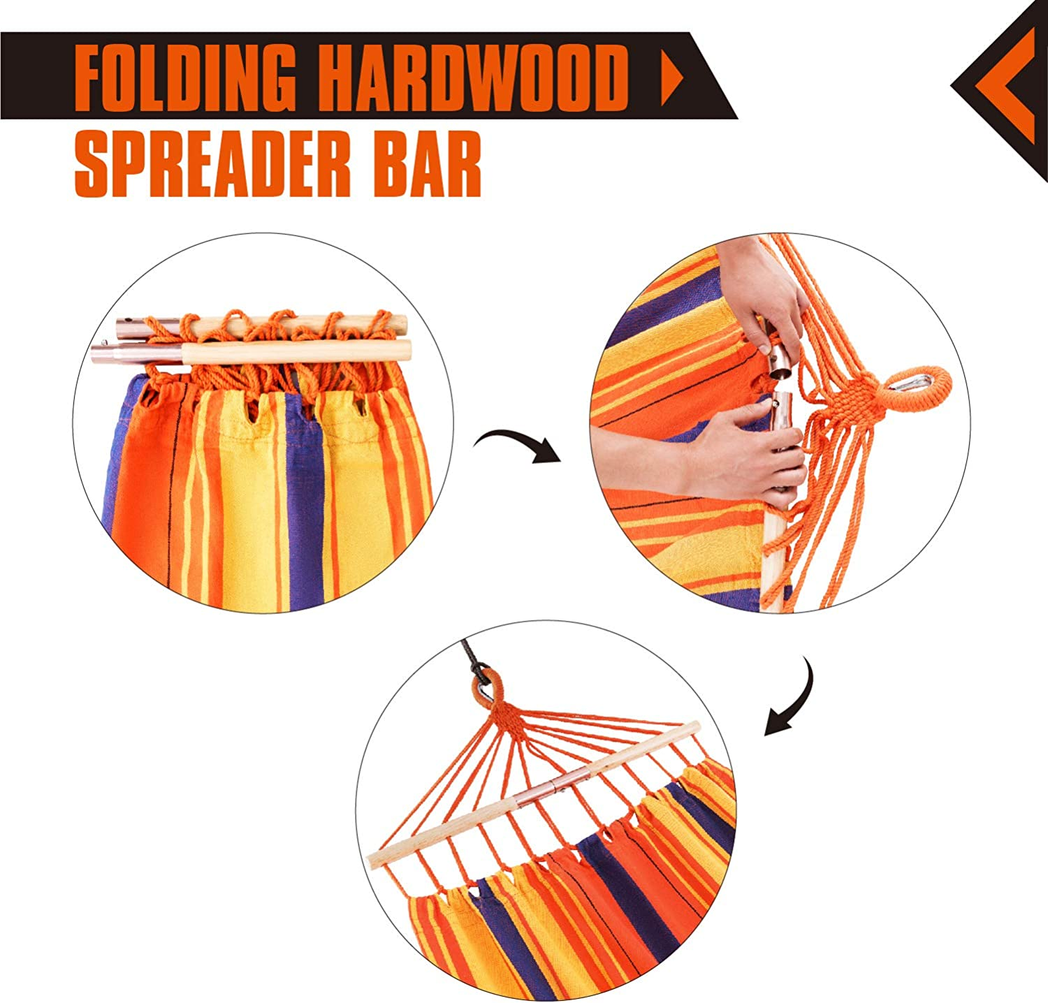 KingCamp Hammock with Folding Wooden Spreader Bars Compact for Camping Hiking Picnic Outdoors