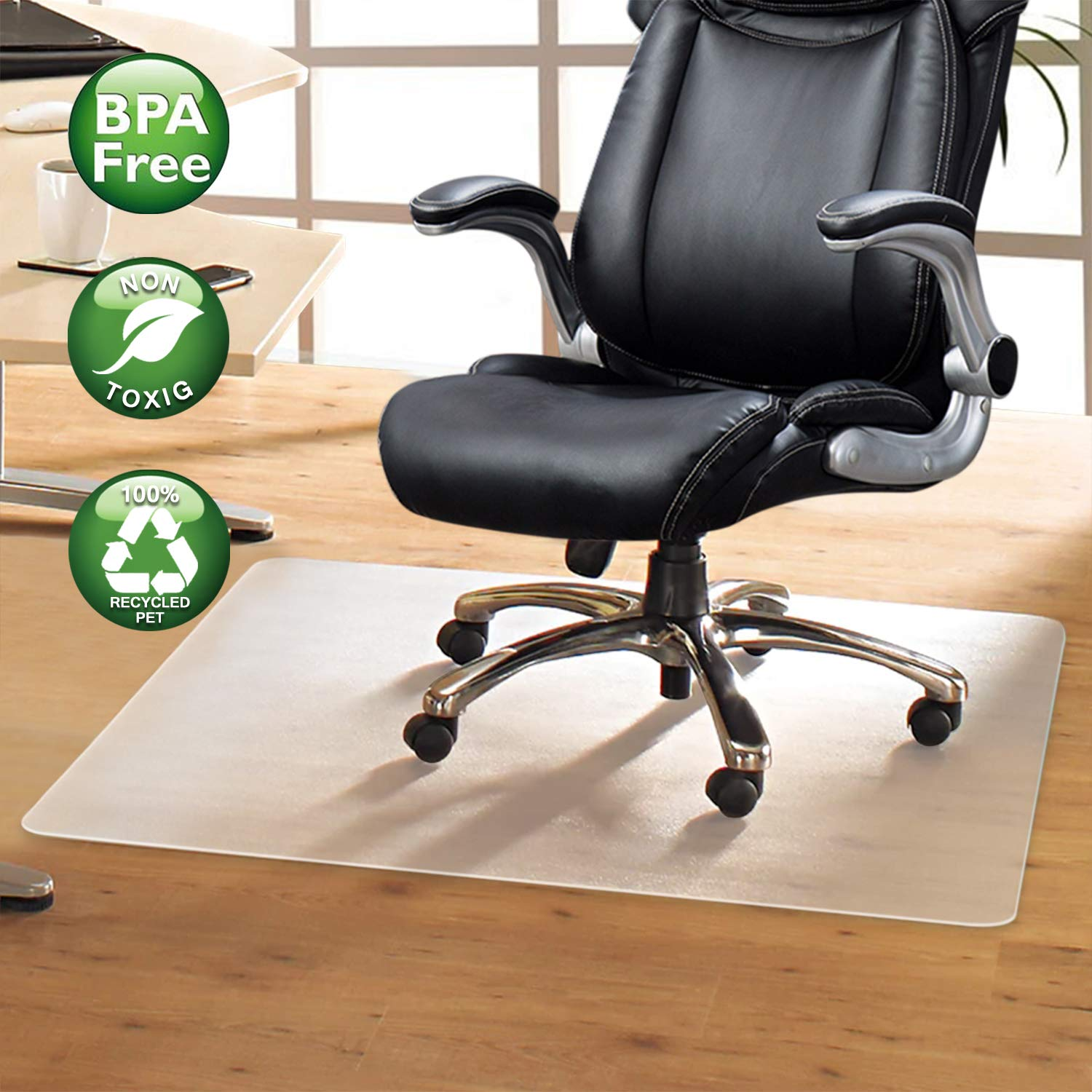 Komene Office Chair Mat: Make The Best Protection for Hardwood Floor,Multiple Sizes - BPA-Free and Rectangular Non-Toxic,48''×30'' Great Clear Thick Vinyl Mat for Rolling Chair and Computer Desk