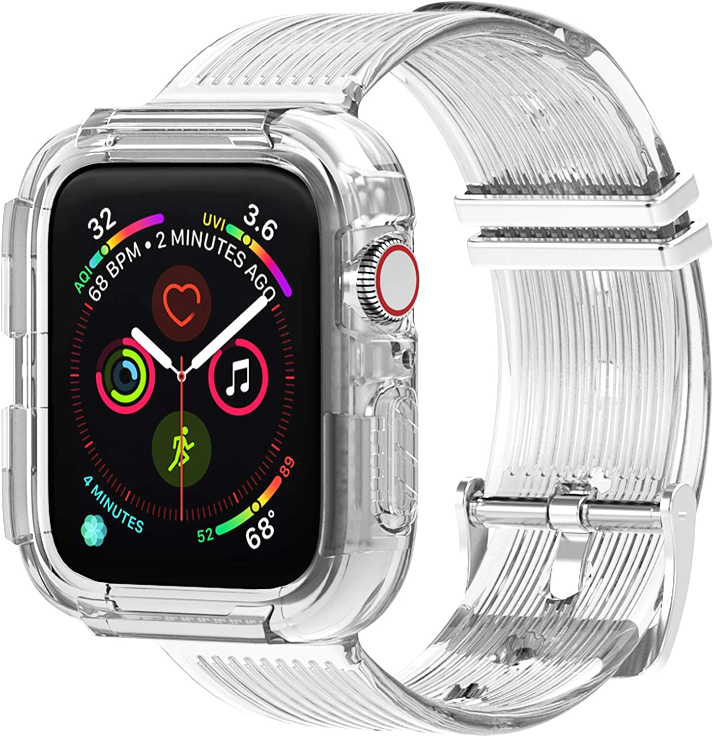 moencase Band Compatible with Apple Watch Band 38mm 40mm 42mm 44mm with Case, Clear Soft TPU Band for Apple Watch Series 1/2/3/4/5(38mm/40mm Clear)