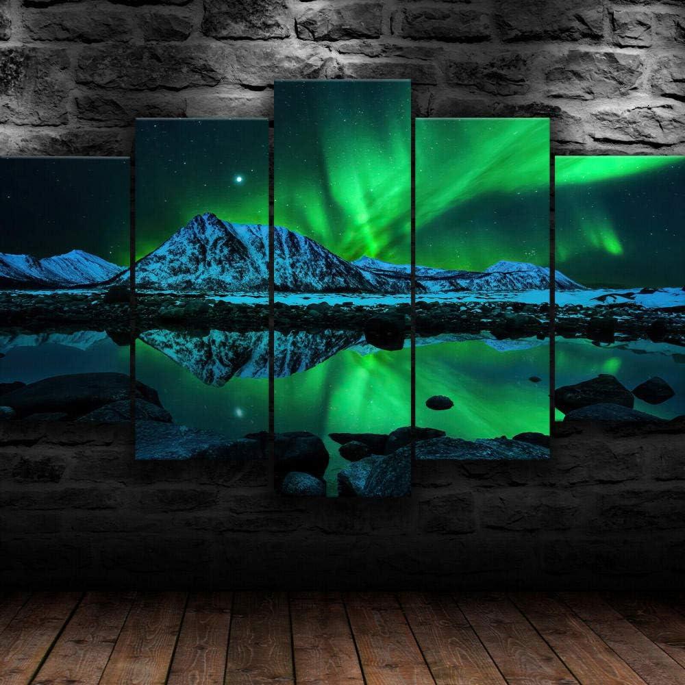45Tdfc 5 Panel Wall Art Paisaje Natural del Northern Lights Aurora Pintando la impresión de la Pintura en Lienzo Pictures para decoración de casa Pieza de Regalo de Firstwallart