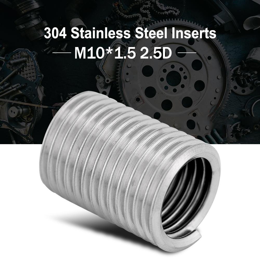 Ochoos 100Pcs 304 Stainless Steel Wire Thread Inserts Screw Sleeve Thread Repair Kit M101.5 2.5D Assortment Kit helicoil Thread Repair