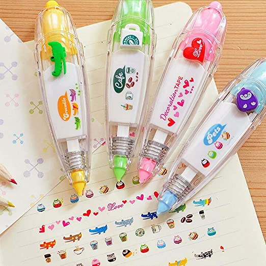 Buytra Cute Novelty Sticker Pen Machine Decorative Correction Tape with  Cat, Dog, Owl for Scrapbooking, Diary, Planner, Journal DIY Crafts