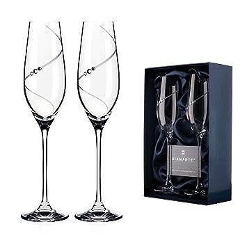 2c9e36dd639 Two Diamante ® Silhouette 210ml Champagne Glasses Adorned with Crystals by  Swarovski®