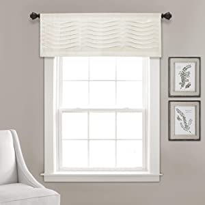 "Lush Decor, Cream Wave Texture Valance | Pleated Ruffle Fold Window Kitchen Curtain (Single), 18"" x 52"