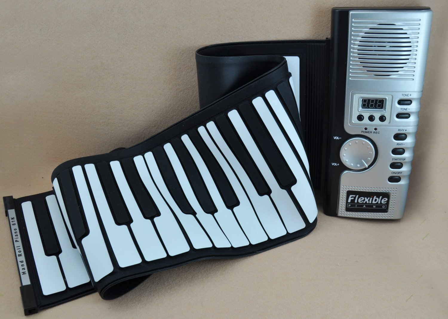 JouerNow RUP001 61 Thickened-Keys Roll Up Piano, Multifunctional Electronic Digital Synthesizer, Battery-Operated, with Built-in Speaker/Headphone Output