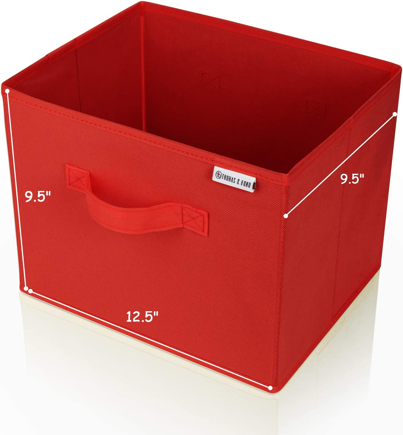 Collapsible File Storage Box 12.5 x 9.5 x 9.5 Holds Hanging File Folders and Letter Size Files. Fits on Shelf or in Many Drawers. (Cherry Red)