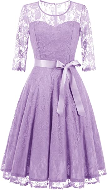 TALLA L. Dressystar Vestido Cóctel Encaje 3/4 Manga Hombro Y Espalda Medio Transparente Elegante Mujer Lavender