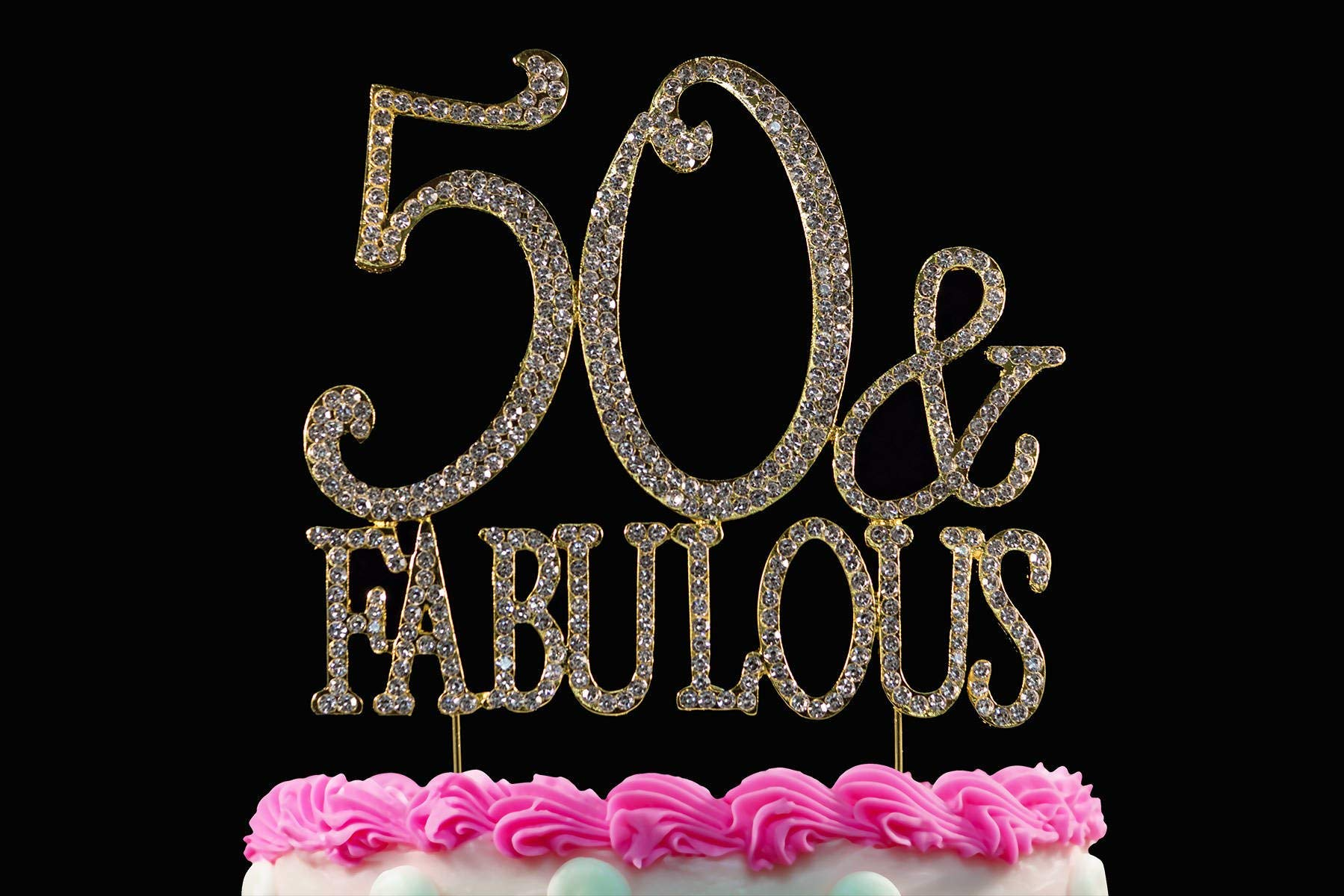 50 and Fabulous Rhinestone Cake Topper   Premium Sparkly Crystal Diamond Bling Gems   50th Birthday Party Decoration Ideas   Quality Metal Alloy   Perfect Keepsake (50&Fabulous Gold)