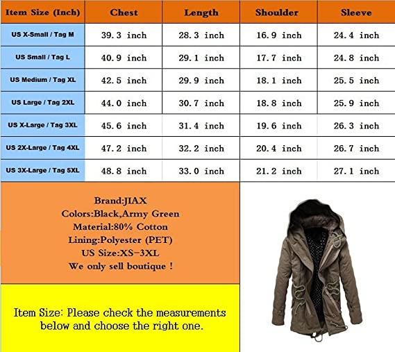 JIAX Mens Autumn Winter Long Section Slim Thick Cotton Hooded Parka Jacket at Amazon Mens Clothing store: