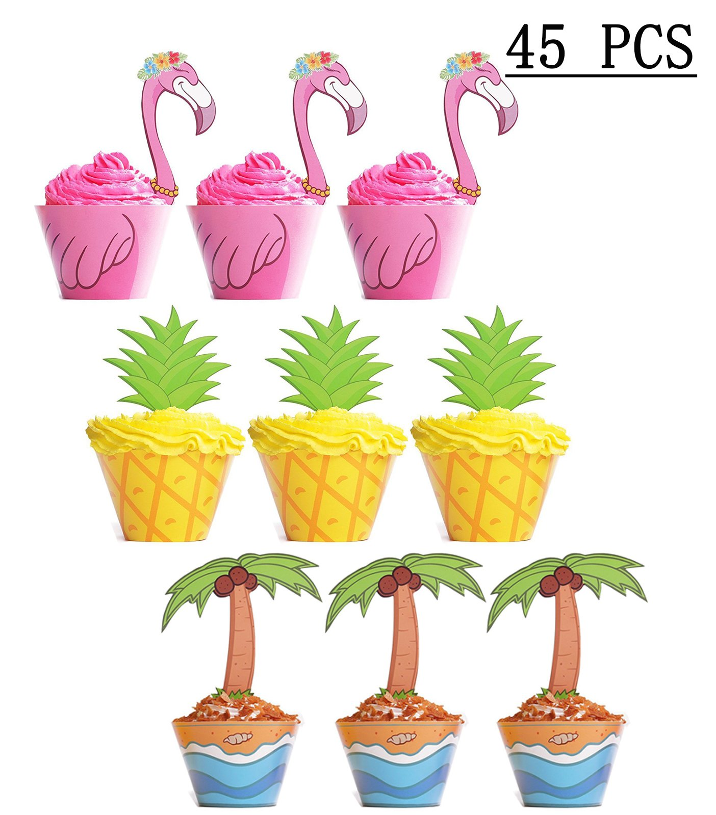 Moon Boat Flamingo / Pineapple / Palm Cupcake Toppers Wrappers - Luau Tropical Hawaiian Pool Party Supplies Cake Decorations