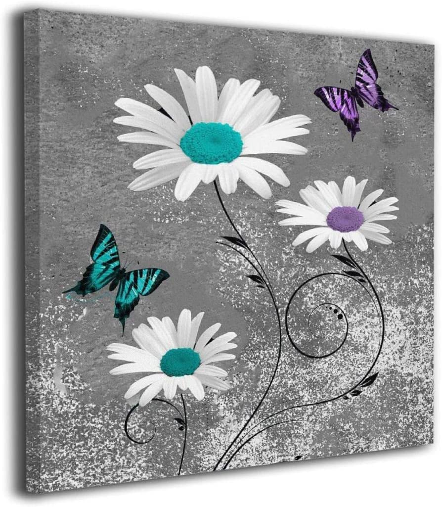 Colla Canvas Print Wall Art Teal Purple Daisy Flower Butterflies Decorative Paintings Modern Home Wall Decor for Bedroom Living Room Bathroom Framed Ready to Hang 16x16 Inches