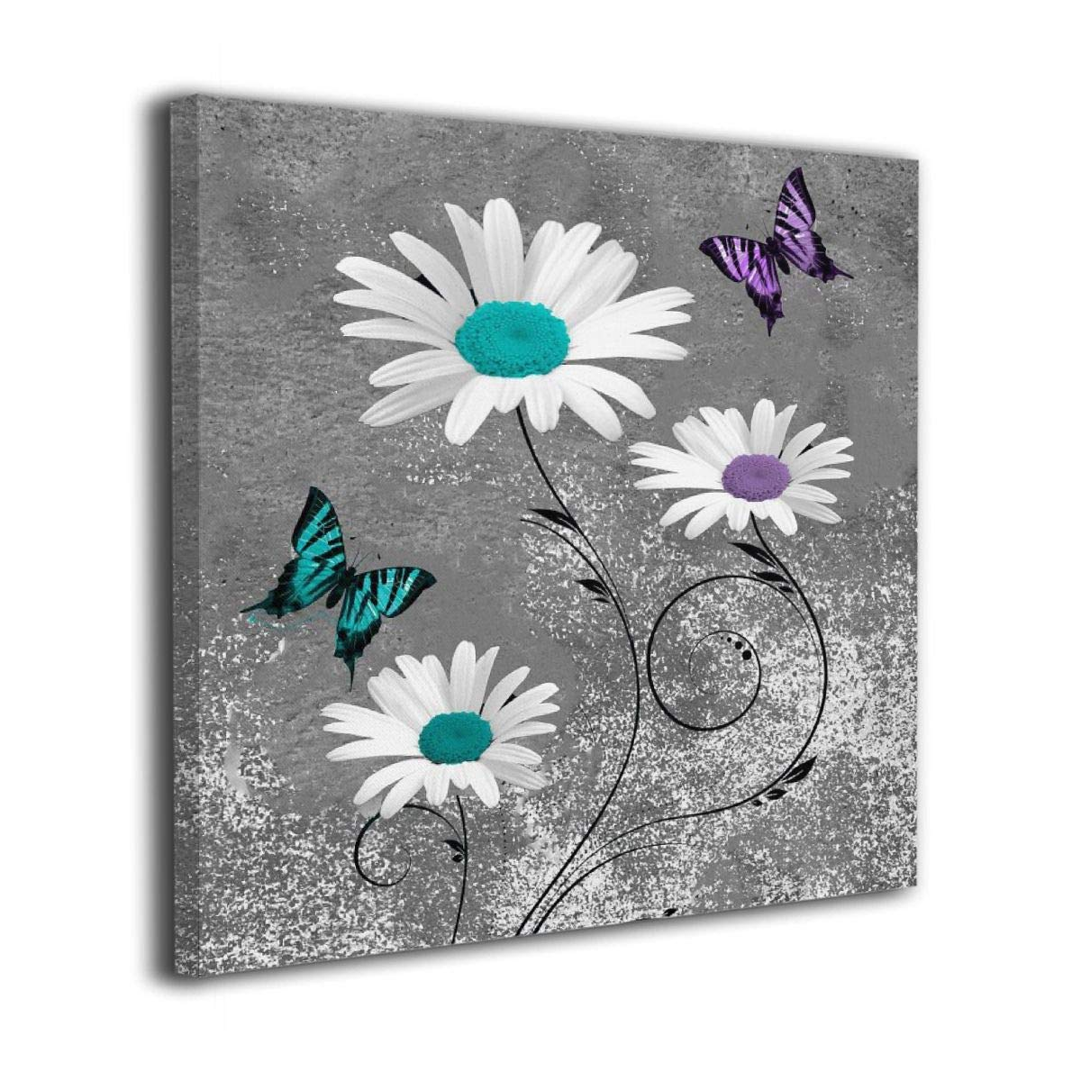 "Colla Canvas Print 12""x12"" Teal Purple Daisy Flower Butterflies Wall Art Giclee Print Gallery Wrap Modern Wall Decor for Bedroom Living Room Bathroom Framed Ready to Hang"